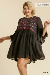 Umgee Black Floral Embroidered Bohemian Dress Plus Size XL 1X $42.95