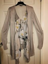 Coast Nude Beige Waterfall Cardigan With Extra Floral Floaty Layer Size M New GBP 18.50