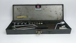 Wright Tool amp; Forge Co. Vintage Socket Set 16 Mixed Pieces w Metal Storage Box $110.00