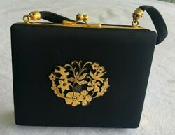 Vintage Hard Sided Black Evening Bag With Gold Flowered Accents