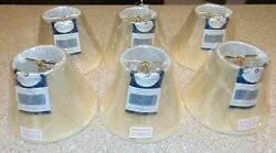 Set of 6 4.25quot; Cloth amp; Wire Slant Chandelier Lamp Shades w Flame Clip New $29.95