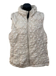 Robert Kitchen Canada Womens Size XLarge Puffer Vest Full Zip Egg Shell Side Zip $42.56