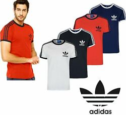 Adidas Originals California Men#x27;s T Shirt Trefoil Retro 3 Stripes Short Sleeve $21.99