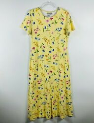 Coldwater Creek Size Medium Yellow Floral Maxi Dress Short Sleeve 100% Cotton $22.09
