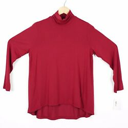 Style Co Womens Size M Red Long Sleeve Mock Neck Tee Top NWT $9.99