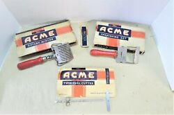 Lot of 3 Vtg Acme Kitchen Red Handle Mincer Garnishing Twin Curl Cutter Fries $10.11