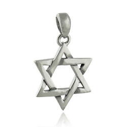 Star of David Pendant with Bail 925 Sterling Silver Jewish Judaism Outline $14.40