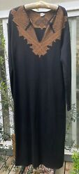 Peruvian Connection Pima Cotton Maxi Dress Black with Gold Design Ladies Large $45.00