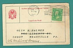 #412 Perf 8 1 2 Coil on Commercial Post Card Receipt. Cat Val $50 Jan 21912