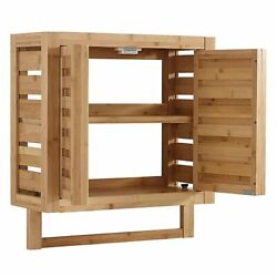 NEW Bamboo Wall Cabinet in Natural Spa Luxary Bathroom Storage $109.97