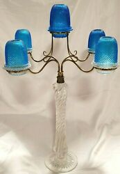 Stunning Tall Blue S. Clarke Richly Cut Five Arm Candelabra Fairy Lamp Light $747.99