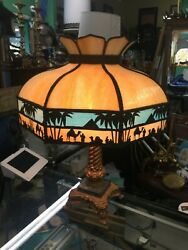 Antique Slag Glass Lamp Egyptian Theme Circa 1920 $750.00