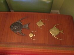4 Retro Vintage Brass Tropical Fish Hanging Wall Art Angel Fish Mid Century MCM $29.98