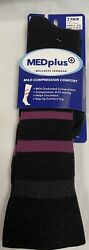 2 Pair Med Plus Socks Compression Comfort Size 8 12 Black Fuschia Diabetic $9.99