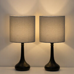 Set of 2 Modern Bedside Lamp Gray Linen Table Lamp Pair for BedroomLiving Room $32.30