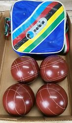 Vintage Brown Perfetta Bocce Ball Set Of 4 With World Champion Bag from Italy $89.95