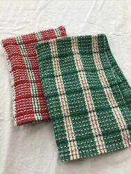 """Tag Set Of 2 Holiday Kitchen Red and green plaid Towels 16 x 22"""" $5.99"""