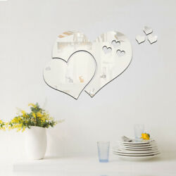 3D Mirror Love Hearts Wall Sticker Removable Decal DIY Room Home Mural Decor $2.46