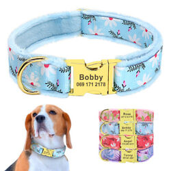 Warm Fleece Dog Personalized Collars Custom Pet Dog Name Tags Engraved Blue Pink $9.99