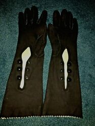 VTG LADIES BLACK SUEDE OPERA GLOVES WITH WRIST BUTTONS $25.00
