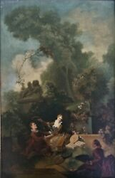 Signed Antique Oil Painting Courting Scene Classical on Canvas Dated 1928 $262.50
