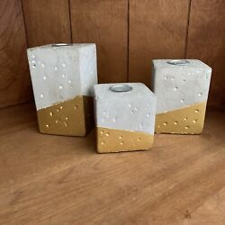 Chesapeake Bay Candle Decorative Gift Set 3 Tapers Cement holders Gold Concrete $10.50