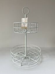 NEW 12quot; Target Bullseye White 2 Tiered Tray Metal Stand Rustic Decor Holidays $18.99