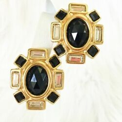 Vintage Givenchy Earrings Black Crystal Runway Clip On $79.00