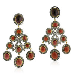 Red Garnet 7.28ct Pave Diamond Sterling Silver Vintage Chandelier Earrings Gold $2319.00