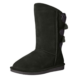 BEARPAW Boshie Women#x27;s Black Suede With Rubber Sole Buckle Strap Boot US 7.5 M $39.97