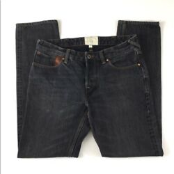 Paul Smith Red Ear Men#x27;s Cotton Button Fly Faded Black Denim Jeans Straight Leg $39.99