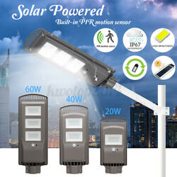 US 40W 60W Solar Street Dusk Dawn LED Light PIR Motion Sensor Outdoor $31.79