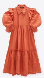 100% Authentic ZARA Sun Orange Embroidered Ruffle Long Dress Size: S $59.90