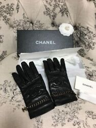 Very Rare CHANEL Gloves Logo Charm in Lambskin Black Size 7 Nearly Unused $839.00