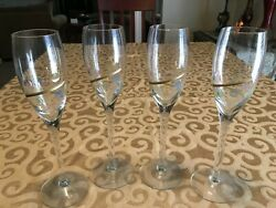 SET OF 4 BRAND UNKNOWN CLEAR CHAMPAGNE FLUTES W GOLD SWIRL amp; POLKA DOTS 10quot; $8.99