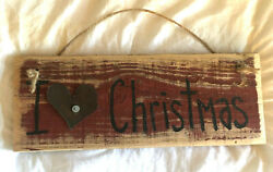 PRIMITIVE RUSTIC WOOD SIGN COUNTRY CHRISTMAS WINTER SHABBY DECOR $22.99