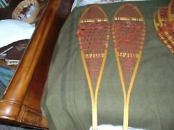 Vintage Wooden Snowshoes 48quot;x12quot; with Leather Bindings Maine Log Cabin $181.09