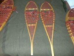 Vintage Wooden Snowshoes 42quot;x11quot; with Leather Bindings Maine Log Cabin $162.89