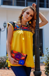 Embroidered blouse peasant floral mexican blouse frida kahlo hand made 2 ton $28.99