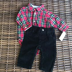 Carter#x27;s Red Plaid Black Outfit NEW NWT Christmas 3 mo New with tags. Bodysuit $22.00