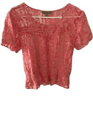 Small Peach Pink Blouse Lace Boho Bohemian Hippie Nine West Vintage America $2.40
