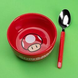 Super Mario Breakfast Set Bowl amp; Spoon PALADONE NEW $18.95