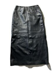 "Finity Size 10 Black Genuine Leather Straight Skirt Length 38"" $40.00"