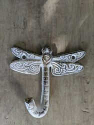 Single Vintage Style Dragonfly Rustic Hook Cast Iron Wall White Gold shabby $11.99