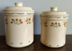 Ceramic Kitchen Canisters Jars with Lids Cookie Flour Sugar Coffee Tea Set of 2 $28.49
