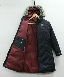 The North Face Down Insulated Long Parka Jacket Womens Size XS Black Fur Hood $79.99