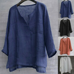 Mens Fashion Cotton Baggy Blouse Long Sleeve Loose Fit Casual Linen T Shirt Tops $14.16