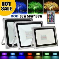 US 30W 50W 100W RGB LED Flood Light Color Changing Lights With Remote Control $33.89