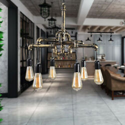 6 Light Industrial Water Pipe Ceiling Lamp Vintage Steampunk Wall Lights $57.00