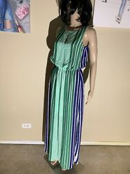 "Adrianna Papell Size 2 Striped Maxi Dress Length 57"" Poly $10.00"
